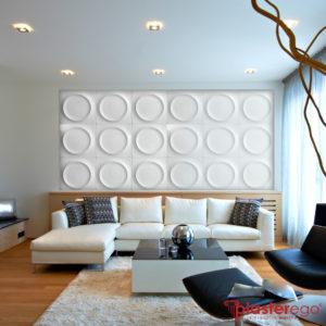 rivestimenti decorativi in gesso_parete soggiorno_superficie decorativa_pannelli per rivestimento in gesso_plasterego