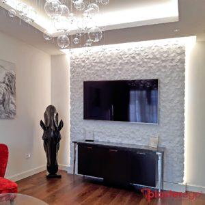 rivestimenti decorativi in gesso_decoro esagonale_superficie 3d_plasterego_parete salotto_decorative wall panels